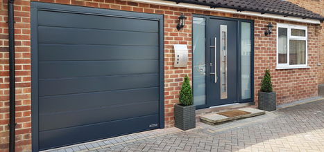 Anthracite front door and garage door