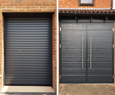 Anthracite roller shutter and side hinged garage doors